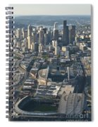 Aerial View Of Seattle Skyline With The Pro Sports Stadiums Spiral Notebook