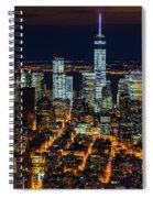 Aerial View Of The Lower Manhattan Skyscrapers By Night Spiral Notebook