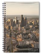 Aerial View Of The Seattle Skyline With Stadiums Spiral Notebook
