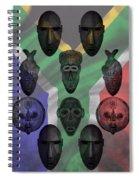 Africa Flag And Tribal Masks Spiral Notebook