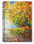 After Rain Autumn Reflections Acrylic Palette Knife Painting Spiral Notebook