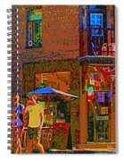 Afternoon Stroll French Bistro Sidewalk Cafe Colors Of Montreal Flags And Umbrellas City Scene Art Spiral Notebook