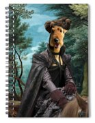 Airedale Terrier Art Canvas Print - Forest Landscape With Deer Hunting And Noble Lady Spiral Notebook