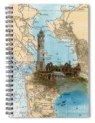 Alcatraz Island Lighthouse Ca Nautical Chart Map Art Spiral Notebook