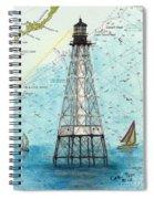 Alligator Reef Lighthouse Fl Keys Nautical Map Cathy Peek Spiral Notebook