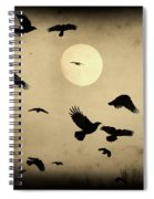 Almost Full Moon And Crows Spiral Notebook