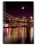 Amazing New York Skyline And Brooklyn Bridge With Moon Rising Spiral Notebook
