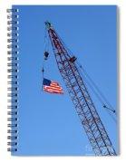 American Flag On Construction Crane Spiral Notebook