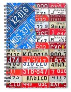 American Flag Recycled License Plate Art Spiral Notebook