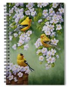 American Goldfinches And Apple Blossoms Spiral Notebook