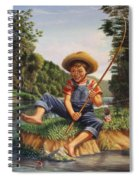 Americana - Country Boy Fishing In River Landscape - Square Format Image Spiral Notebook