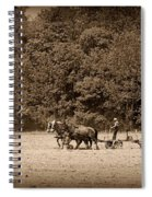 Amish Farmer Tilling The Fields In Black And White Spiral Notebook