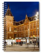 Amsterdam Central Station And Tram Stop At Night Spiral Notebook