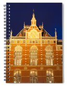Amsterdam Central Train Station At Night Spiral Notebook
