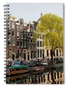 Amsterdam Houses Along The Singel Canal Spiral Notebook