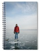 An Adult Male Playing Ice Hockey Poses Spiral Notebook