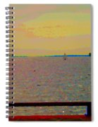 An Expanse Of Sky And Sea Twilight Fishing The Canal St Lawrence River Scenes Art Carole Spandau Spiral Notebook