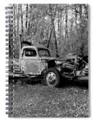 An Old Logging Boom Truck In Black And White Spiral Notebook
