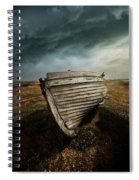 An Old Wreck On The Field. Dramatic Sky In The Background Spiral Notebook