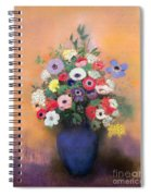Anemones And Lilac In A Blue Vase Spiral Notebook