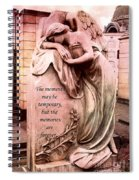 Angel Art - Memorial Angel Weeping Sorrow At Grave With Inspirational Message - Memories Are Forever Spiral Notebook