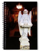 Angel Statue Offers Holy Water Spiral Notebook