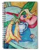 Angel's Trumpet Flowers And A Ukulele Spiral Notebook