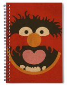 Animal Muppet Vintage Minimalistic Illustration On Worn Distressed Canvas Series No 008 Spiral Notebook