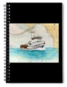 Ann Kathleen Crab Fishing Boat Nautical Chart Map Art Spiral Notebook