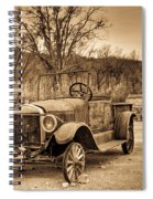 Antique Car At Service Station In Sepia Spiral Notebook