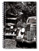 Antique Cars Black And White Spiral Notebook