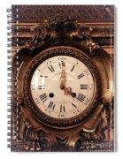 Antique Clock In Sepia Spiral Notebook