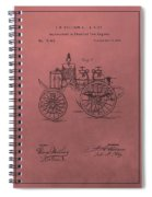 Antique Fire Engine Patent On Red Spiral Notebook