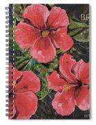 Antique Hibiscus Black 3 Spiral Notebook
