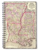 Antique Map Of Arkansas Mississippi And Louisiana Spiral Notebook