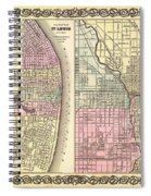 Antique Map Of Chicago And St Louis 1855 Spiral Notebook