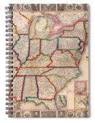 Antique Map Of The United States 1848 Spiral Notebook