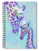 Aqua And Purple Loving Giraffes Spiral Notebook