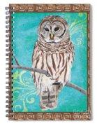 Aqua Barred Owl Spiral Notebook