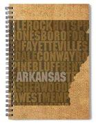 Arkansas Word Art State Map On Canvas Spiral Notebook
