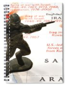 Army Man Standing On Middle East Conflicts Map Spiral Notebook