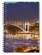 Arrabida Bridge At Night In Porto And Gaia Spiral Notebook