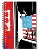 Art Homage Jasper Johns American Flag 9-11-01 Memorial Collage Barber Shop Eloy Az 2004-2012 Spiral Notebook