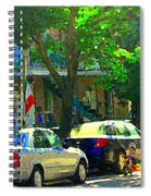 Art Of Montreal Day With Daddy And Yellow Wagon Zooming Our Streets Of Verdun Scene Carole Spandau  Spiral Notebook