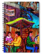 Art Of Montreal Enjoying A Pint At Ye Olde Orchard Irish Pub And Grill Monkland Village Cafe Scenes Spiral Notebook