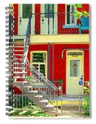 Art Of Montreal Upstairs Porch With Summer Chair Red Triplex In Verdun City Scene C Spandau Spiral Notebook