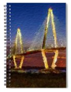 Arthur Ravenel Bridge At Evening  Spiral Notebook