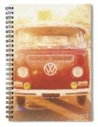 Artistic Digital Drawing Of A Vw Combie Campervan Spiral Notebook