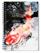 Asian Koi Fish - Black White And Red Spiral Notebook