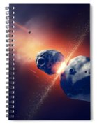 Asteroids Collide And Explode  In Space Spiral Notebook